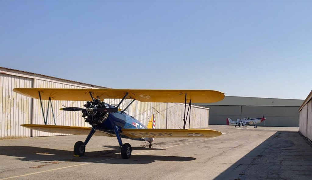 WW2 Biplane Stearman Army Biplane 1942. Aces High Aviation Long Beach 3501 N Lakewood Blvd Long Beach CA 90808 P51 Mustang